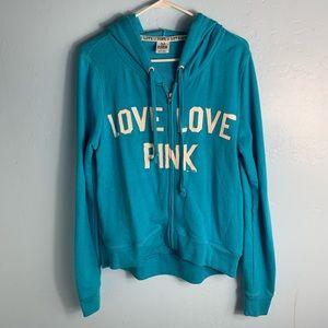 pink VS blue zip up hoodie